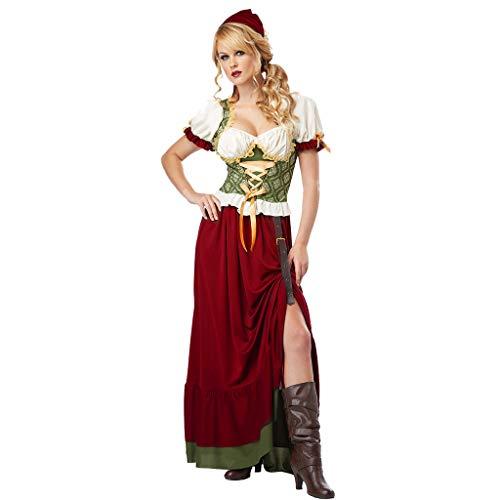 Eaylis Damenbekleidung Kleid Oktoberfest Halloween Cosplay Bier Schwester Restaurant Kellner Kleid Band Spitze + 1 PC Kopftuch + 1 PC GüRtel