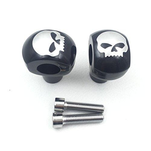 HTT Motorcycle Black 25mm Diameter Skull Handlebar Risers Fit 1