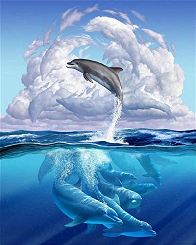 HU0QWPKU Springende dolfijn 5D DIY diamond tekening Gehoord volledige kit ronde boor volledige boor Office Wall Decor schilderen op cijfers pasta 50 cm x 60 cm.