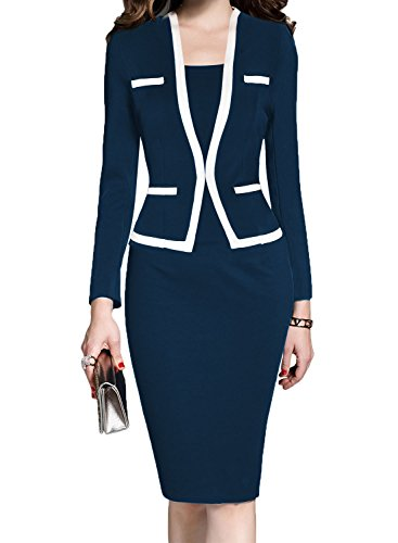 MUSHARE Women's Colorblock Wear to Work Business Party Bodycon One-Piece Dress (Navy Blue, X-Large)