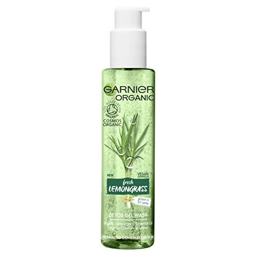 Garnier Organic Refreshing Lemongrass Detox Gel Wash Cleanser for Healthy Glowing Skin, Face Wash for Normal, Combination & Sensitive Skin 150 ml