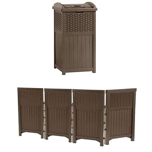 10 Outdoor Garbage Can Storage Ideas for Your Backyard: Suncast Wood Style Outdoor Screen Enclosure