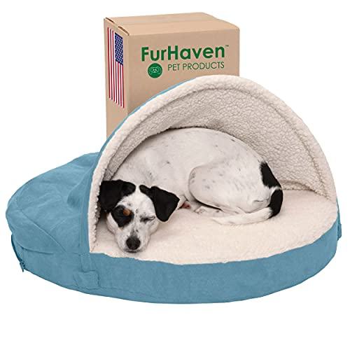 Furhaven Orthopedic Pet Bed for Dogs and Cats - Sherpa and Suede Snuggery Blanket Burrow Nest Dog Bed with Removable Washable Cover, Blue, 26-Inch