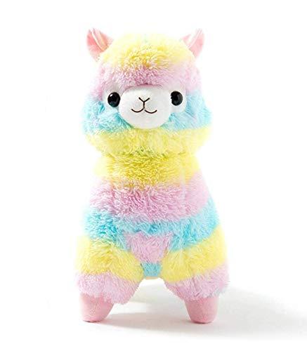 Uni-Wert Plüsch Alpaka 28 cm Regenbogen Kinder Plüschtiere Puppe Lama Süße Weiche Stofftier Alpaka Rainbow Alpaca Spielzeug Geschenke für Baby Kleinkinder Kuscheltier Alpaka