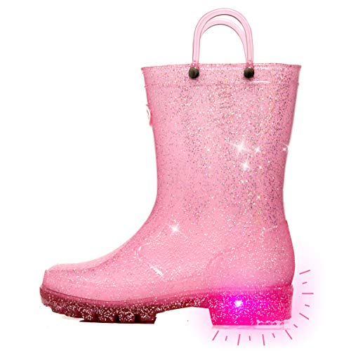 Outee Toddler Girls Kids Light Up Rain Boots Waterproof Shoes Glitter Lightweight Cute Lovely Funny with Easy-On Handles Classic Comfortable Insoles Anti-Slippery Sole with Grip (Size 7,Pink)