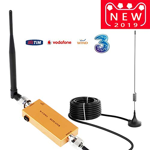 Yuanj Handy Signalverstärker Verstärker 3G 2100 MHz WCDMA Verstärker Telefon für Ladegeräte 2G 3G Repeater GSM Verstärker Sprachanruf und Daten für Multi Mobile Netzwerkanbieter (Gold) (Gold) (Gold)