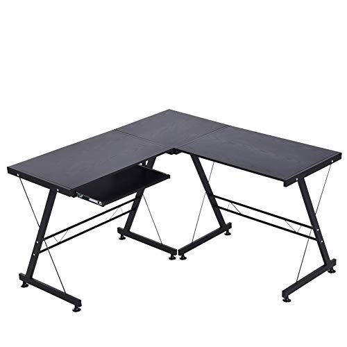 HOMCOM Computertisch Schreibtisch Flexible Arbeitsstation MDF Stahl Schwarz 210 x 50 x 73,5 cm
