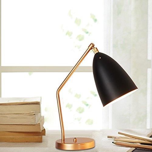 Nordic Lampe de bureau en fer forgé avec cadre doré décoré, lampe de chevet pour salon, lampe de table pour enfants, lampe de chambre à coucher, E27 (non incluse) (Noir)