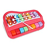 Majome 2 In 1 Piano Xylophone Educational Musical Instruments Toys with Music Cards for Baby Kids