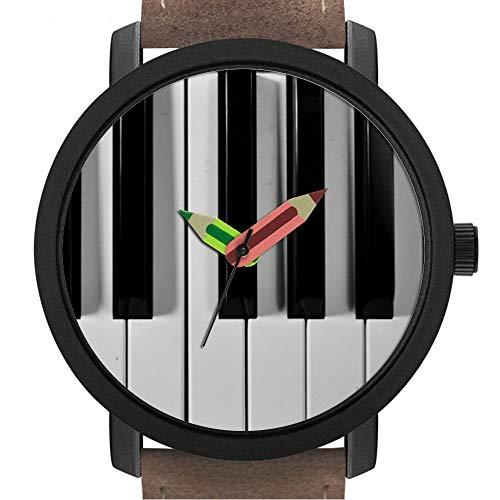 Geschenk für Erwachsene | Kinder | Geburtstag | Stilvolle niedliche Armbanduhr mit Bleistift Form Pointer Ornament Geschenk 307.Piano Keyboard Custom Watch