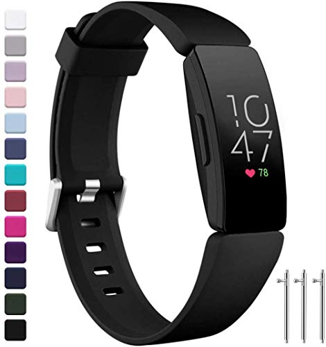 Ouwegaga Compatible with Fitbit Inspire HR Bands Women Men and Fitbit Ace 2 Bands for Kids Small Black