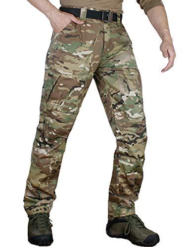 zuoxiangru Pantalones Resistentes al Agua para Hombres Rip-Stop Pantalones Rectos de Combate táctico Army Cargo Pantalones de Trabajo con 8 Bolsillos (#57 CP, XXL)