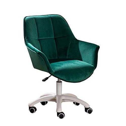 Silla de oficina en casa de tela de terciopelo, silla de escritorio ergonómica ajustable de altura giratoria con soporte lumbar, fácil de instalar verde