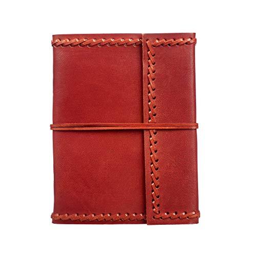 Carnet de notes en cuir - commerce équitable 135 x 185 mm grand cousu