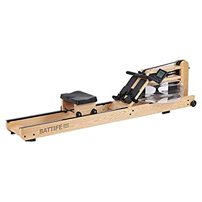 BATTIFE Water Rowing Machine with Bluetooth Monitor, Solid Oak Wood Rower for Home Gyms Use, Fitness Indoor Training