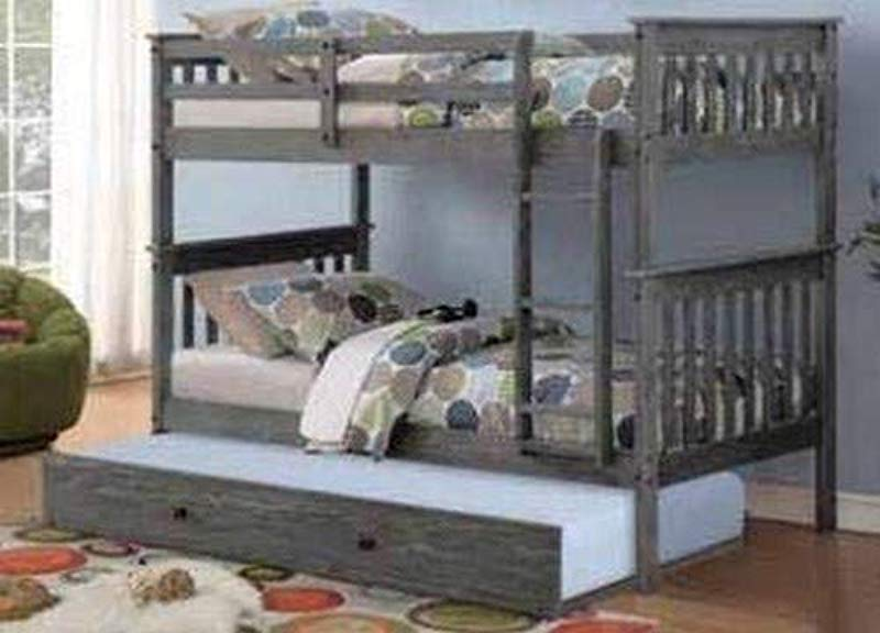 Donco Kids 120 3TTCP 503 BG Mission Bunk Bed With Trundle Twin Twin Twin Brushed Grey