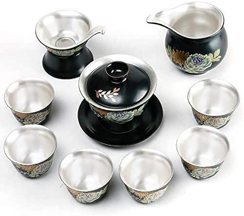 ZQADTU Tetera de Plata Hecha a Mano 999 Juego de té de de Plata Negro Cubierta de cerámica Tazón Taza de té Juego de Ceremonia Oficina Adultos Regalo de té