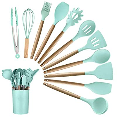 Alitade 12PCS Kitchen Silicone Spatula Utensil Set Silicone Cooking Utensils Set Spatulas Silicone Heat Resistant Wooden Spoons Utensils Non-Stick for Cooking Kitchen Gadgets Tools from