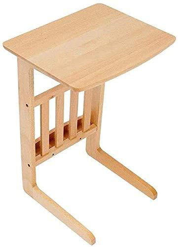 Mesa auxiliar Mesas auxiliares de madera con acabado de café Mesa de centro moderna simple de fácil montaje Mesa de sofá de madera maciza para sala de estar Dormitorio Sofá Mesa Mesas de acabado (Color: Wood)