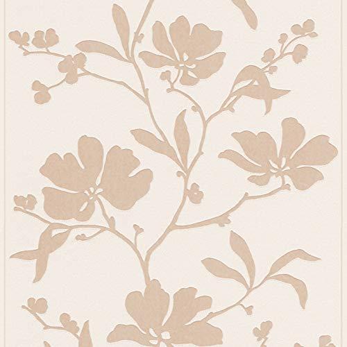 Vliestapete Blumentapete florale Tapete Schöner Wohnen Tapete 227867 22786-7 Schöner Wohnen Best of Schöner Wohnen | Beige/Crème Braun Weiß | Rolle (10,05 x 0,53 m) = 5,33 m²