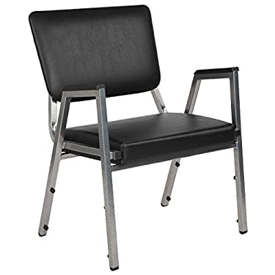 Flash Furniture HERCULES Series 1500 lb. Rated Black Antimicrobial Vinyl Bariatric Medical Reception Arm Chair with 3/4 Panel Back