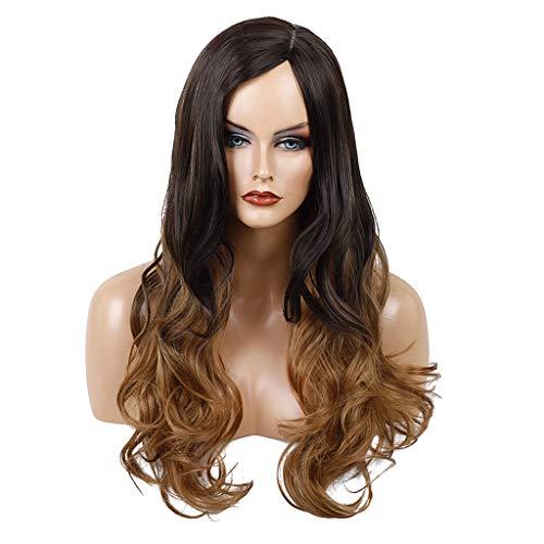 Homyl Perruque Bouclé Longue Perruque Femme Synthétiques Naturels Ondulé Deep Wave Wig Naturel Marron - 60 cm