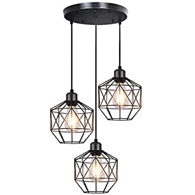 bgLight Industrial Semi Mount Pendant Light, 3 -Light Cage Haning Light Cluster Ceiling Chandeliers Pendant Lighting Fixture for Kitchen Isand, Dining Room,Living Room,Stariway -Black