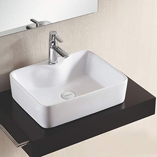 Design Keramik Waschtisch Aufsatz Waschbecken Waschplatz für Badezimmer Gäste WC, Aufsatzbecken Waschschale, Aufsatzwaschtisch handwaschbecken Weiß farbe 49 x 38 x 13 Cm (BxTxH) rechteckige