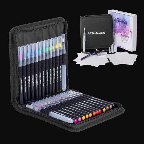 Arthausen 39 Pièce Ensemble de Stylos Pinceau Aquarelle   24 Crayons de Couleur avec Véritable Pointe Pinceau, 2 Stylos à Eau, 1 Étui en Tissu, 2 Pochoirs, 10 Feuilles de Papier Aquarelle