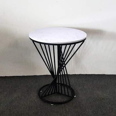 WSHFHDLC Mesa de café redonda de mármol, mesa de café de hierro forjado dorado, mesa de centro de ocio, mesa de café pequeña pequeña mesa de café (color: negro)