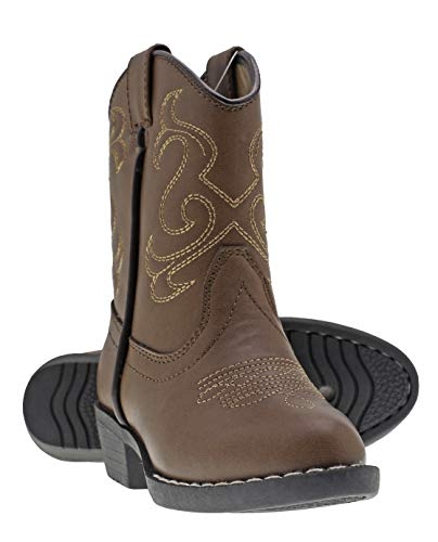 Canyon Trails Kids' Lil Cowboy Pointed Toe Classic Western Boots (Toddler/Little Kid (8 US Toddler, Brown)