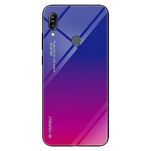 JZ [Gradação da cor] Capa de vidro para Asus Zenfone Max Pro (M1) ZB601KL/ZB602K [Seja você mesmo] Borda de TPU macia + Capa traseira de vidro temperado - Azul e Rosa choque