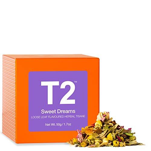 T2 Tea - Sweet Dreams Herbal Tea, Loose Leaf Flavoured Herbal Tisane in Gift Cube, 50g, 1.7oz