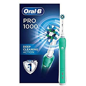 Oral-B 1000 CrossAction Electric Toothbrush, Green, Powered by Braun