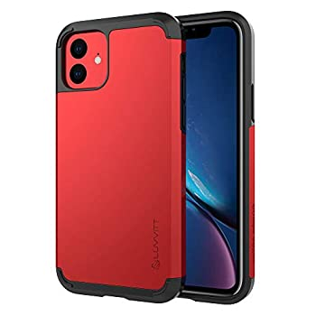 Luvvitt Ultra Armor Case Designed for iPhone 11 2019 with Removable Metal Plate for Magnetic Holder  car Phone Mount Cradle is not Included  for Apple iPhone XI 11 6.1 inch Screen - Red