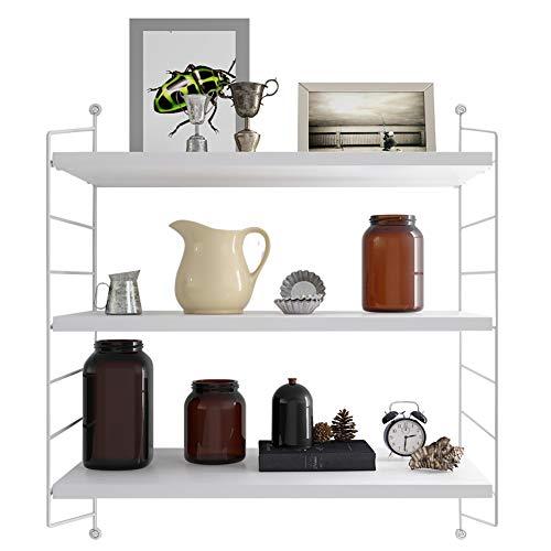 MIOCASA Floating Shelves Metal Wall Mounted Shelves Adjustable 3 Tier Hanging Shelf for Bedroom, Living Room, Bathroom, Kitchen, Office