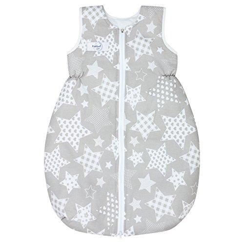 Babyboom Ganzjahres-Schlafsack ohne Ärmel in Birnenform 86 cm/Schlafsack Baby/mit sicherem Reißverschluss - für Frühling, Herbst und Winter (gefüttert) / 100% Baumwolle (Sterne grau)