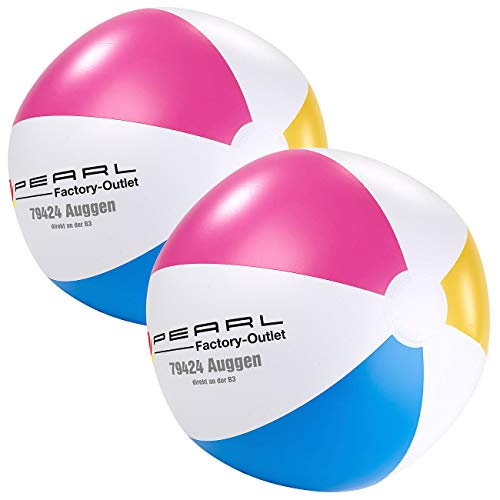 PEARL Aufblasbarer Ball Wasser: 2er-Set Aufblasbare Wasserbälle, Mehrfarbig, Ø 33 cm (Spielball aufblasbar)
