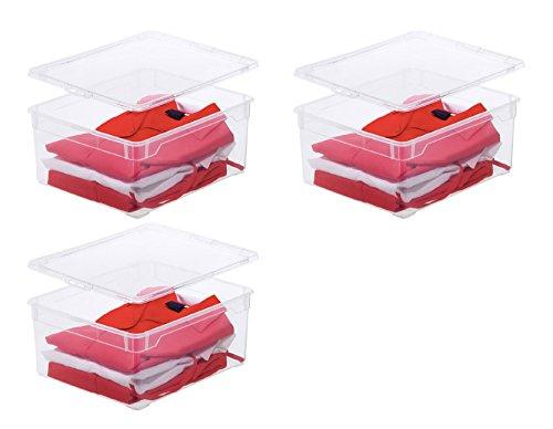 3 x Rotho Aufbewahrungsbox Clear Box Sweater 18 Litern 40,0 x 33,5 x 17,0 cm Kunststoff transparent stapelbar Plastikbox