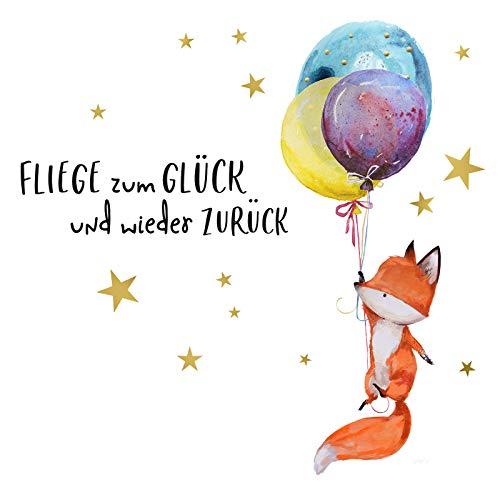 Little Deco Wandsticker Fuchs mit Ballons und Spruch Fliege zum Glück I S - 56 x 32 cm (BxH) I Kinderzimmer Aufkleber Wandaufkleber Babyzimmer Jungen Wandtattoo DL278
