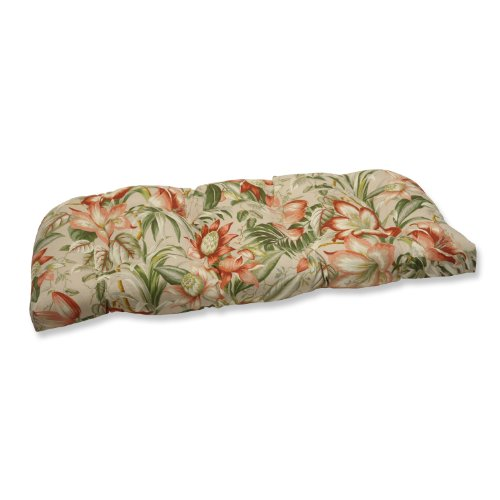 Pillow Perfect 538679 Outdoor/Indoor Botanical Glow Tiger Stripe Tufted Loveseat Cushion, 44' x 19', Floral