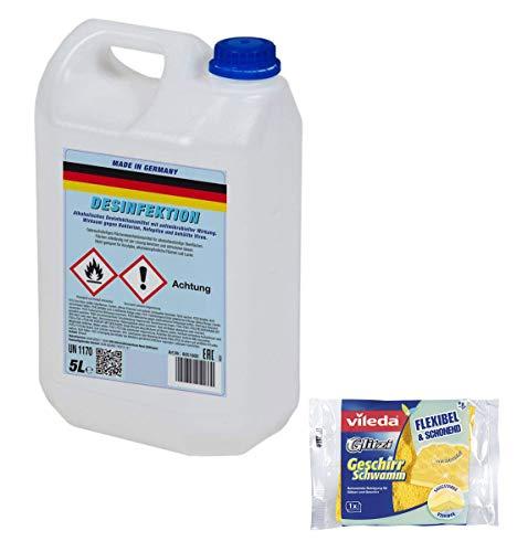 5 liter alcoholisch desinfectiemiddel | met antimicrobiële werking, effectief tegen bacteriën, schimmels en omhulde virussen | Made in Germany