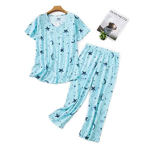 Misscoo Conjunto de pijama sin mangas para mujer, pantalones capri para mujer, señoras y niñas, estudiantes, de algodón, primavera, verano, pijama, ropa de dormir