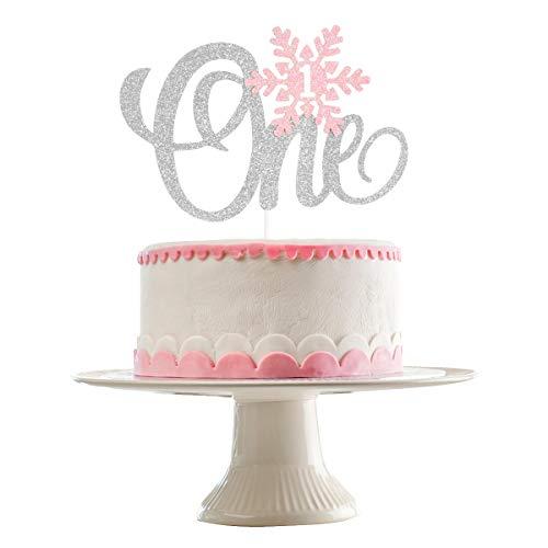 Snowflake One Cake Topper- Winter Onederland 1st Birthday Girl Decorations,Winter Wonderland Cake Topper,Onederland Cake Decorations, Snowflake Cake Topper, Pink and Silver Snowflakes(Silver Pink Glitter)