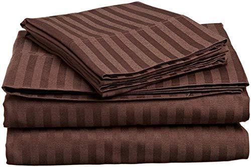 Tula Linen 1000 Hilos 100% algodón Egipcio Rayas Juego de Fundas de edredón y de Almohada de 135 x 200 cm + 4 Funda 50 x 80 cm Primera Calidad Color Marrón
