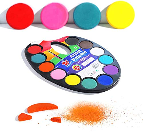 Watercolor Paint Set for Kids, Washable and Non-toxic 12 Colors Watercolors Pigment with Easy-holding Palette Design, Perfect for Beginners Children's Art Education