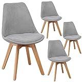 Lot de 4 chaises Lars Design scandinave Tissu Pieds Bois Massif (Gris Clair)