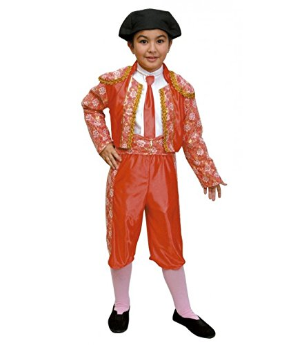 Disfraz de Torero, para niño. Talla 10/12. Incluye: Pantalón, chaqueta, fajín, corbata, pechera de camisa y montera de tela.