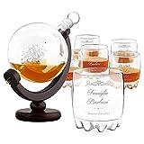 Murrano Decanter per Whisky in vetro - incisione personalizzata - Caraffa a forma di mappamondo da 850 ml + 6 Set bicchieri whisky - idee regalo per anniversario per coppia - universo