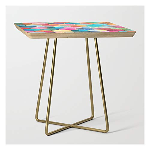 Side Table - Gold - Square - Crystal Bohemian Honeycomb Cubes - Colorful Hexagon Pattern by Micklyn